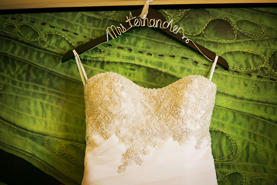 Tampa, Strapless, Ivory Beaded Bridal Wedding Dress with Rhinestone Detail on Customized Hanger