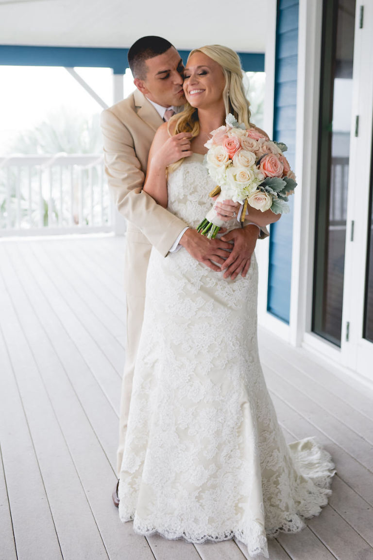 Bride and Groom, Outdoor Wedding Portrait in Lace, Ivory Modern Trousseau Wedding Dress and Tan Groom's Suit