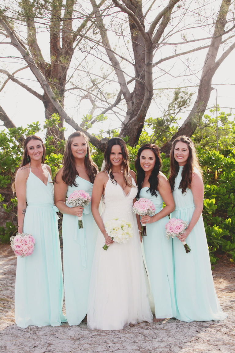 Bride and Bridesmaids Beach Wedding Portrait in Ivory, Lace Wedding Dress and Blue Bridesmaids Dresses | Tampa Bridesmaids Dresses Bella Bridesmaid