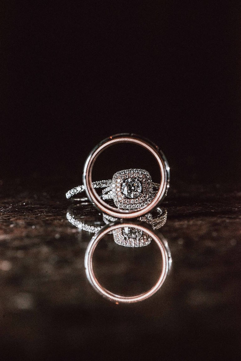 Bride and Groom Wedding and Engagement Ring Portrait | Rose and White Gold Halo Engagement Ring
