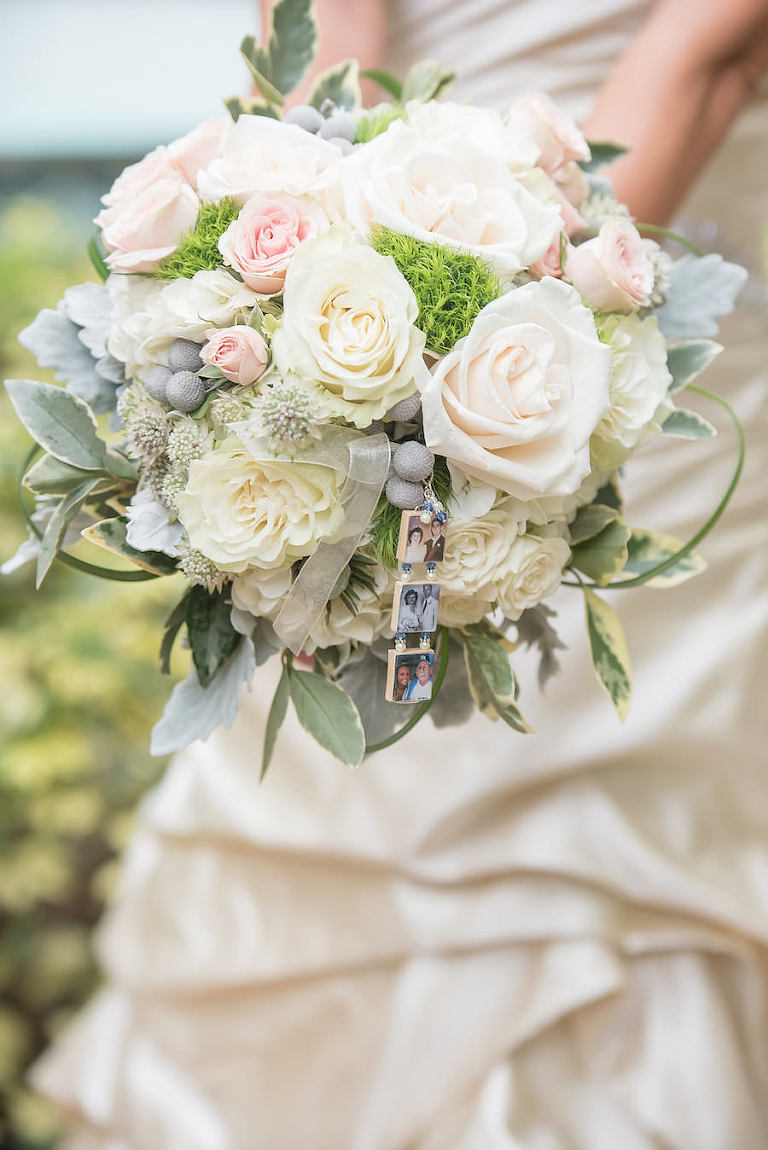 Rustic, Vintage White Rose Wedding Bouquet with Greenery and Memory Charm