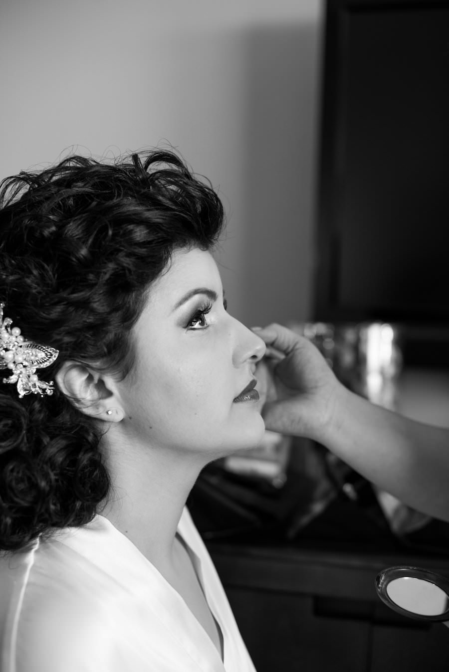 Tampa Bridal Hair and Makeup Getting Ready Portrait   Tampa Wedding Hair and Makeup Artists Michele Renee the Studio  Tampa Wedding Photographers Caroline and Evan Photography