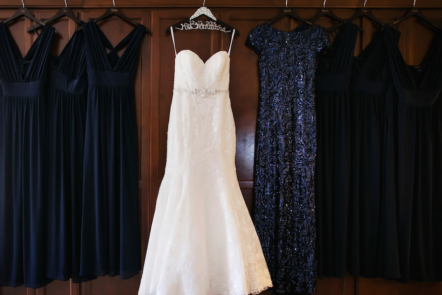 White Lace Trumpet Style Allure Wedding Dress with Rhinestone Belt and Black Badgley Mischka Cowl Back Sequin Ballgown Bridesmaid Dress | St Pete Wedding Photographer Limelight Photography