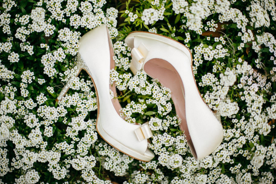 White Wedding Shoes with Accent Bow and Silver Glitter Heels