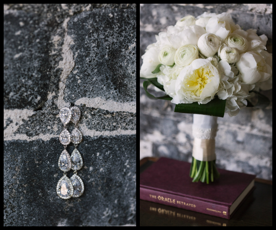 White Peony Floral Wedding Bouquet of Flowers and Diamond Bridal Crystal Drop Earrings