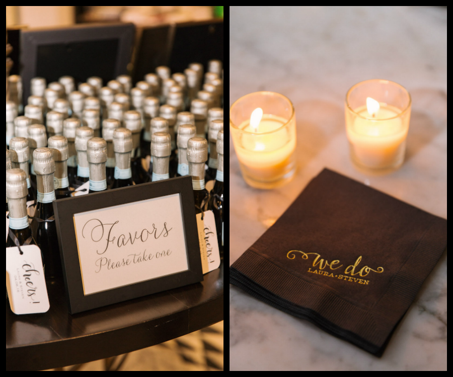 """Wedding Reception Guest Champagne Favor Table and """"We Do"""" Custom Monogrammed Napkins"""