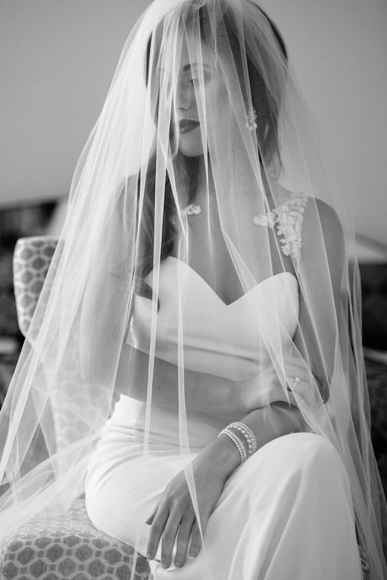 Bridal Wedding Portrait in White Wedding Dress and Chapel Length Veil