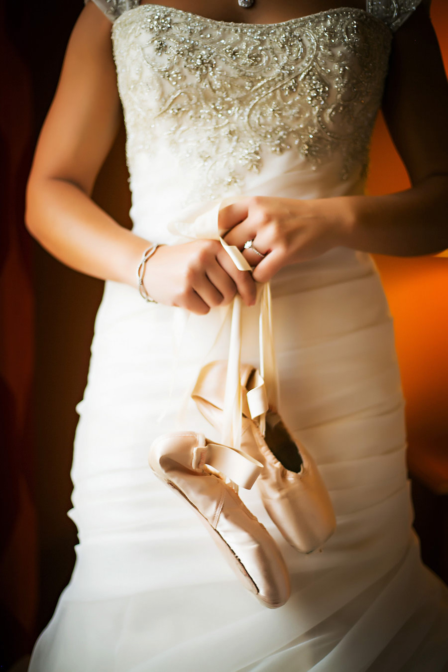 Tampa Bridal Wedding Portrait in Beaded, Ivory Wedding Dress and Pink Ballet Shoes Tampa Wedding Photographers Limelight Photography