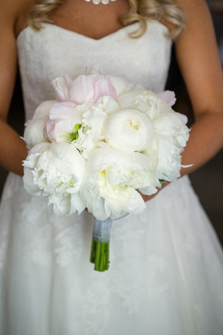 Bridal Wedding Portrait in Strapless, Off-White Watters Wedding Dress and Ivory Peony Wedding Bouquet | Tampa Wedding Photographer Jeff Mason Photography