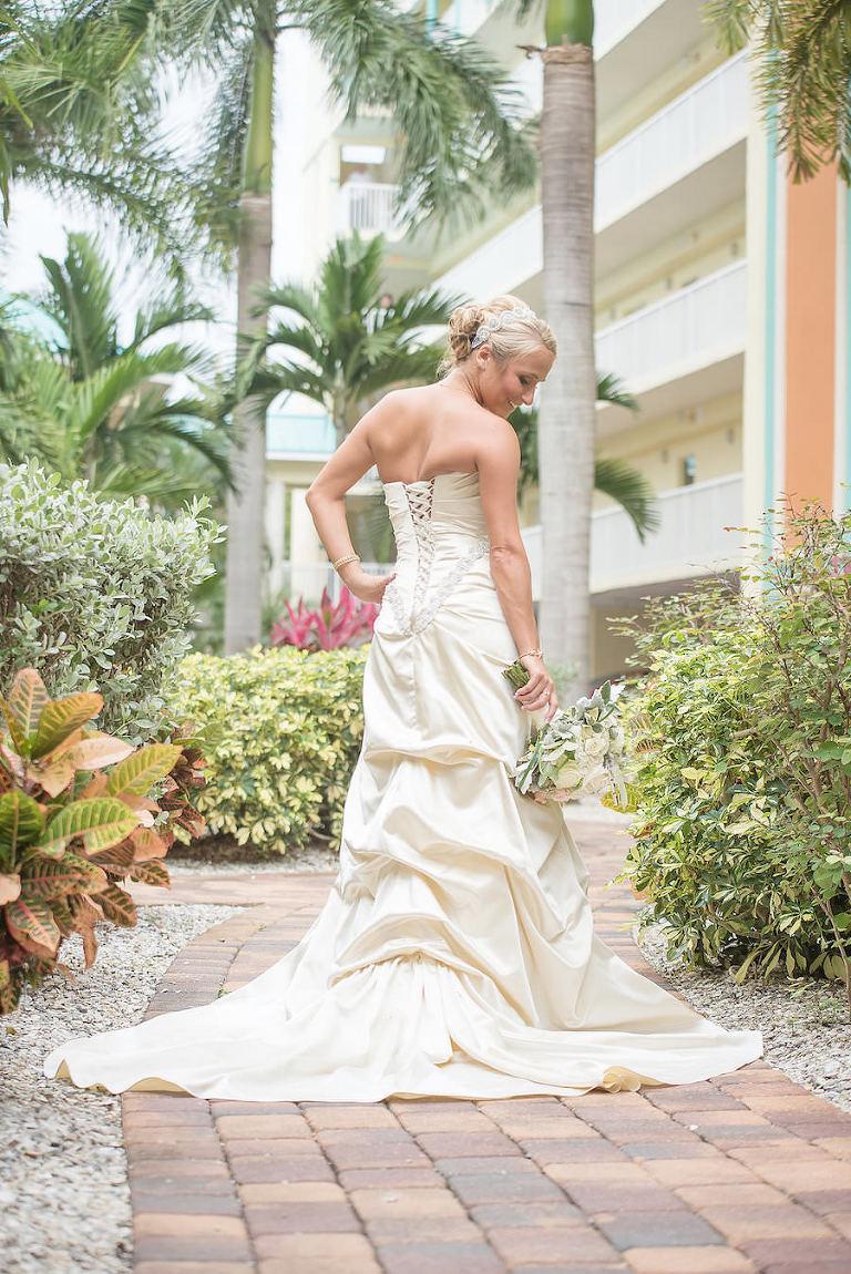 Bridal Wedding Portrait in Ivory Taffeta David's Bridal Wedding Dress with Corset Back   St. Petersburg Wedding Photographer Kristen Marie Photography