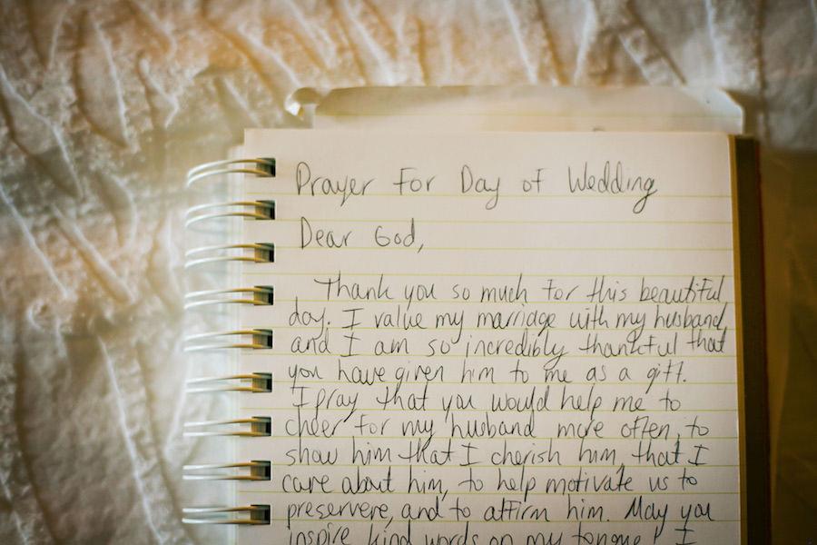 Wedding Ceremony Handwritten Prayer on Wedding Day