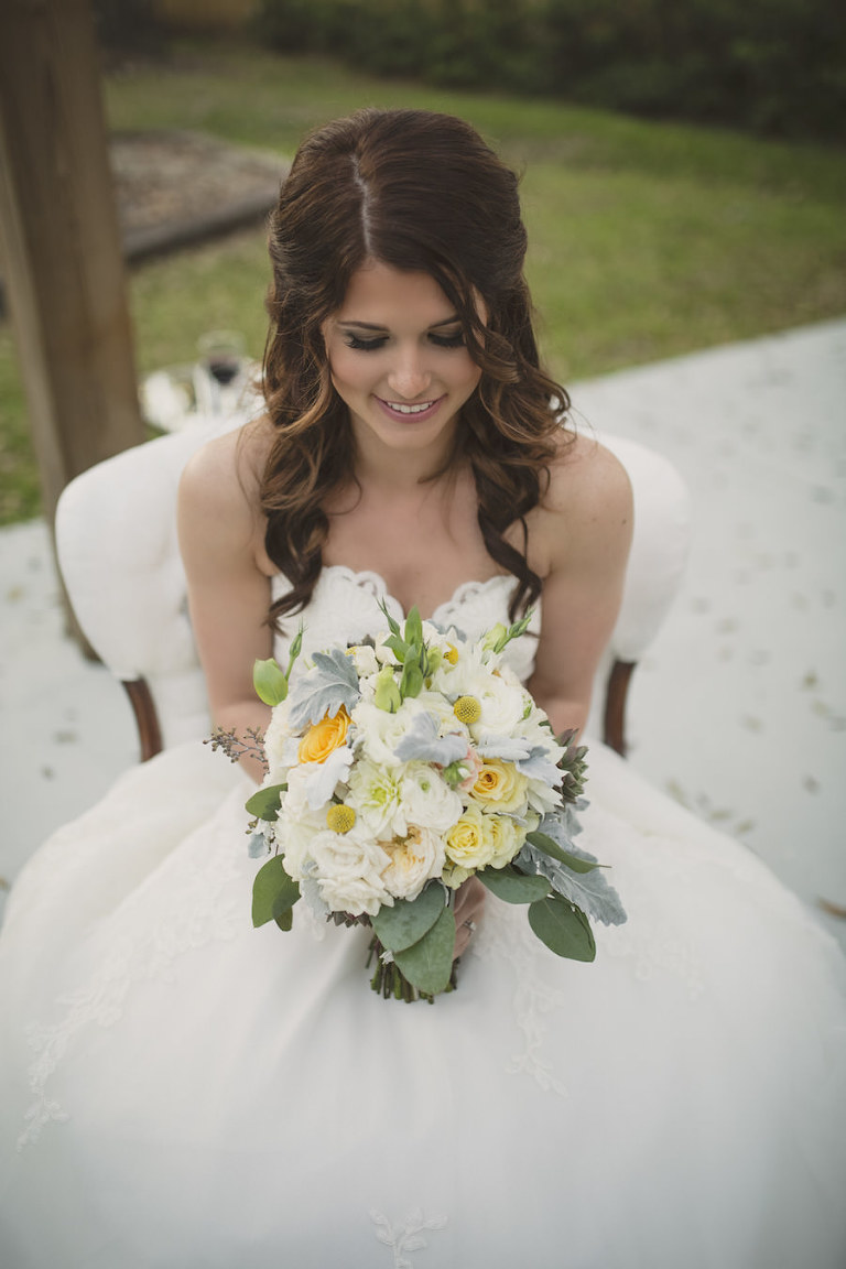 Bridal Portrait in Strapless Allure Lace Wedding Dress with Ivory and Yellow Wedding Bouquet with Greenery | Sarasota Wedding Florist Andrea Layne Floral Design