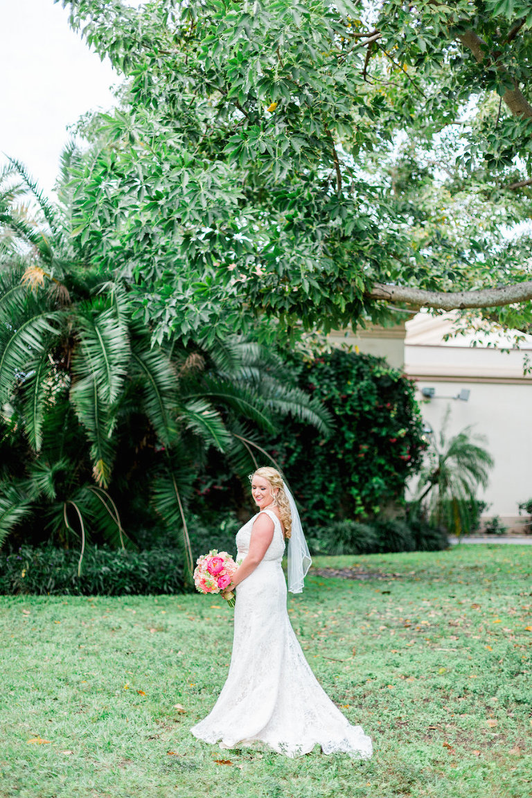 Outdoor, St. Pete Bridal Wedding Portrait in Ivory Wedding Dress and Veil and Coral and Pink Bridal Bouquet of Flowers