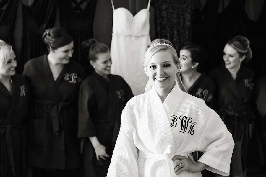 Bridesmaids and Bride Getting Ready In Monogram Robes Wedding Portrait | St. Petersburg Wedding Photographer Limelight Photography