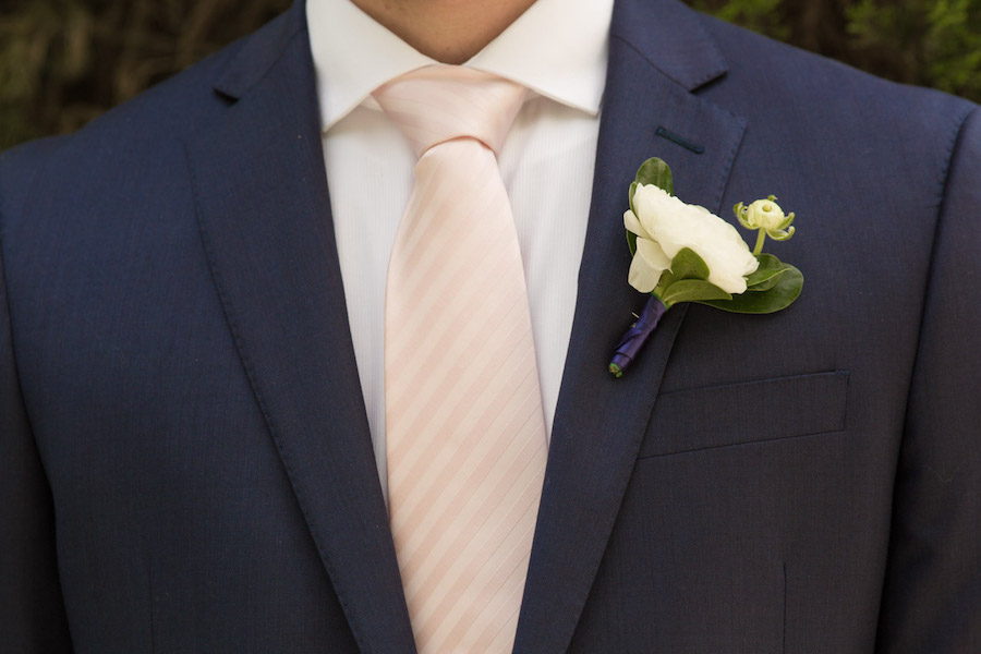 Groom Wedding Portrait in Navy Blue Suit and Blush Tie with Ivory Boutonniere | Tampa Bay Wedding Photographer Jeff Mason Photography