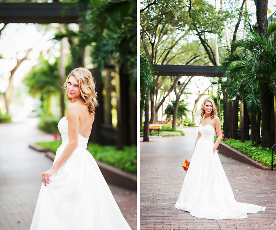 Bridal Wedding Portrait in White, Strapless Taffeta Wedding Gown with Pockets and Orange and Yellow Rose Wedding Bouquet   Tampa Wedding Photographer Limelight Photographer