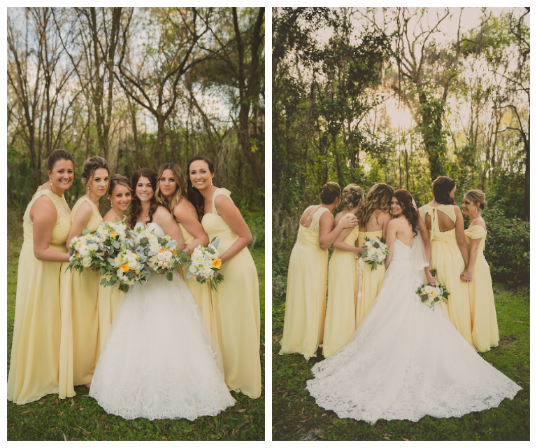 Bridal Party Wedding Portrait with Yellow Bill Levkoff Bridesmaids Dresses and Ivory, Strapless Allure Lace Wedding Dress | Andrea Layne Floral Design Sarasota Wedding Florist