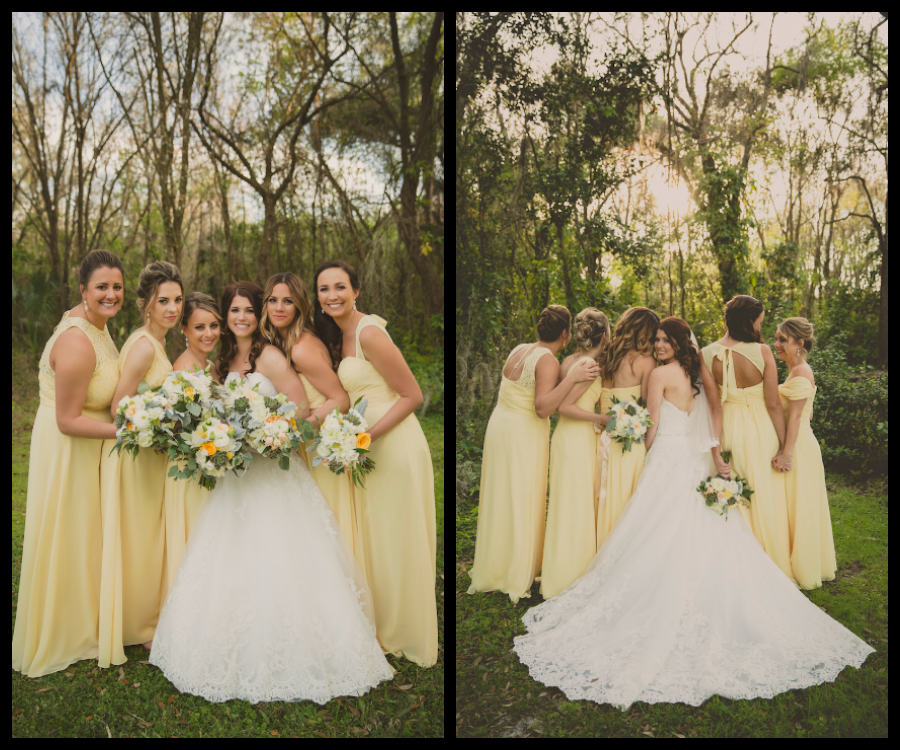 Bridal Party Wedding Portrait with Yellow Bill Levkoff Bridesmaids Dresses and Ivory, Strapless Allure Lace Wedding Dress   Andrea Layne Floral Design Sarasota Wedding Florist