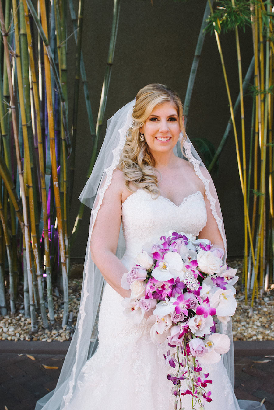 Bridal Wedding Portrait in Ivory Narin Moda Lace Wedding Dress with White and Fuchsia Cascading Wedding Bouquet | St. Petersburg Wedding Florist Iza's Flowers | Hair and Makeup by Michele Renee The Studio