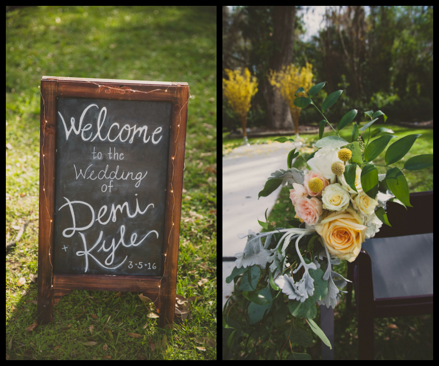 Rustic Wooden Wedding Ceremony Sign with White Calligraphy and Floral Greenery Garland   Sarasota Wedding Florist Andrea Layne Floral Design