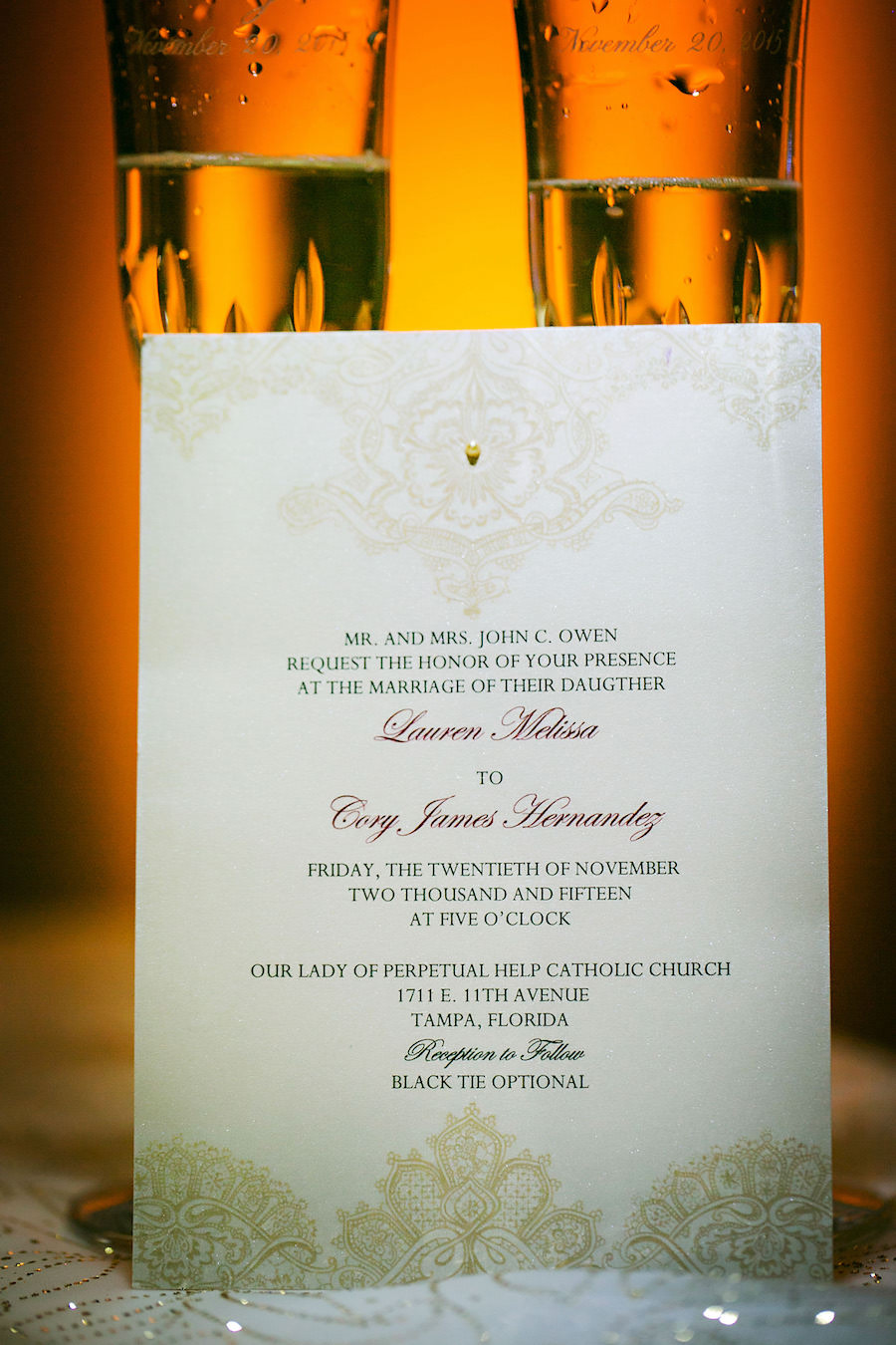 Ivory and Gold Wedding Invitation Stationary Suite with Callligraphy and Embossed Detail Header and Footer