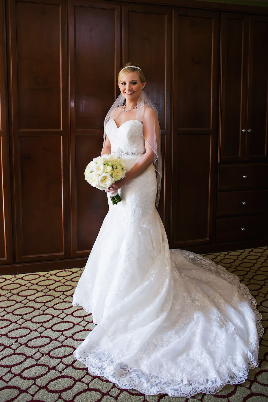 Bridal Wedding Portrait in Strapless, White Lace Allure Wedding Dress with Ivory Rose Wedding Bouquet | St. Petersburg Wedding Photographer Limelight Photography