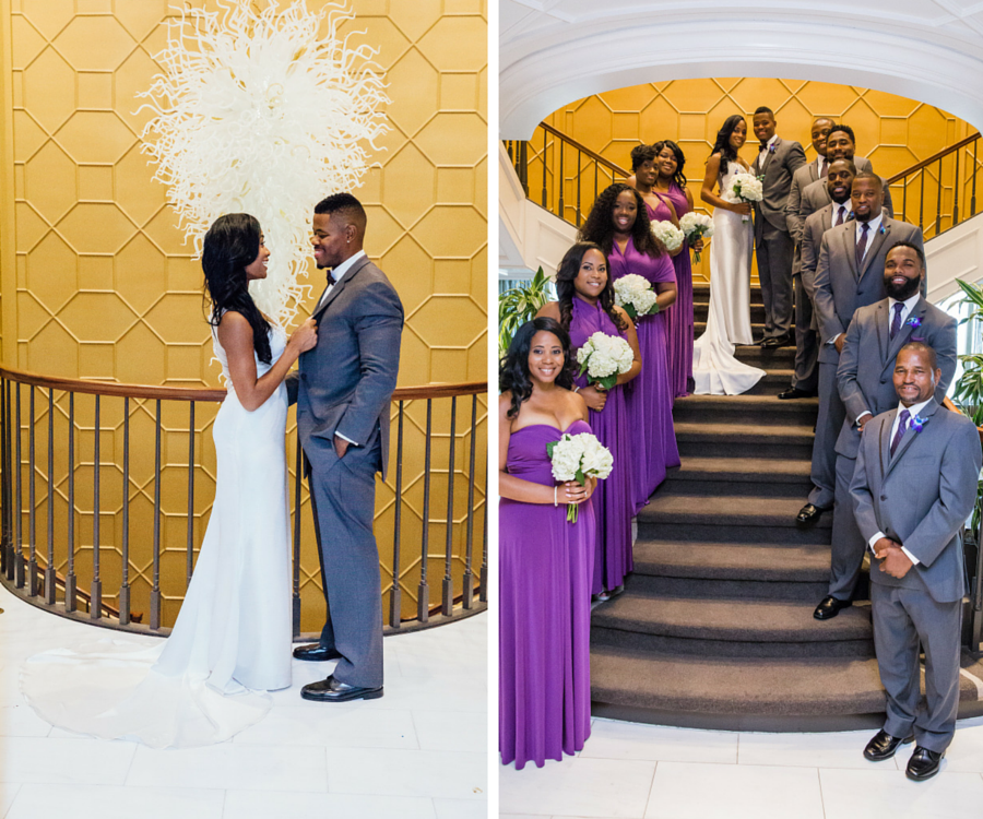 Bride and Groom Wedding Portrait with Bridal Party in Purple Bridesmaids Dresses and Grey Suits   Downtown Tampa Wedding Venue The Tampa Club