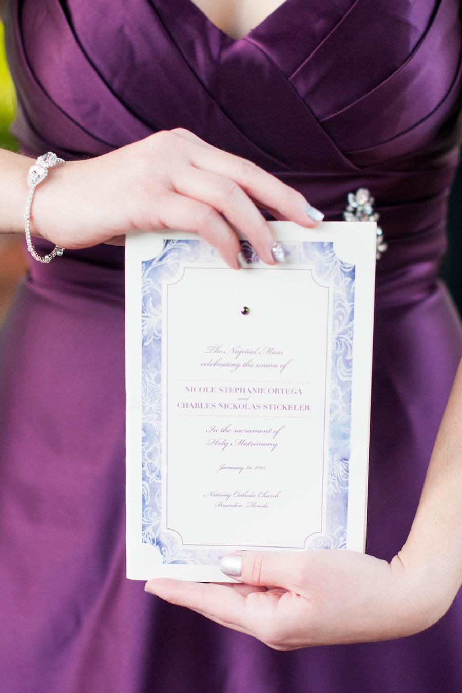 Purple and Ivory Wedding Stationary Invitation   Bridesmaid Purple Dress