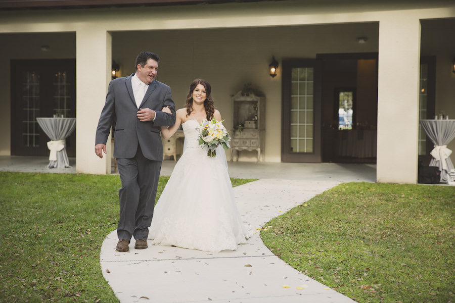 Bride and Father Walking Down The Aisle Wedding Portrait