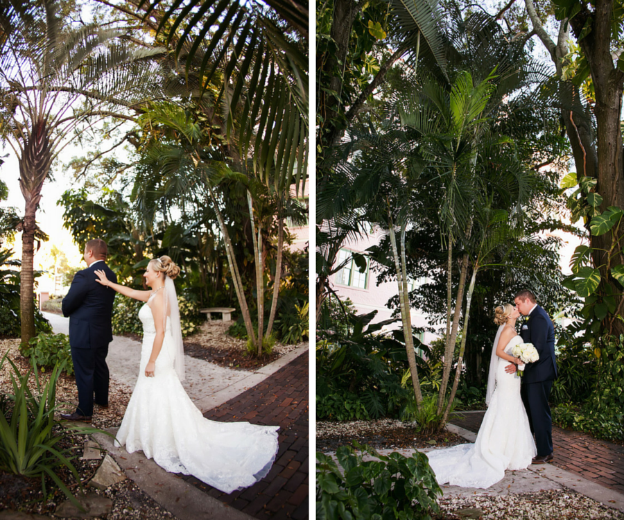 Bride and Groom Outdoor First Look Wedding Portrait | St. Pete Wedding Photographer Limelight Photography