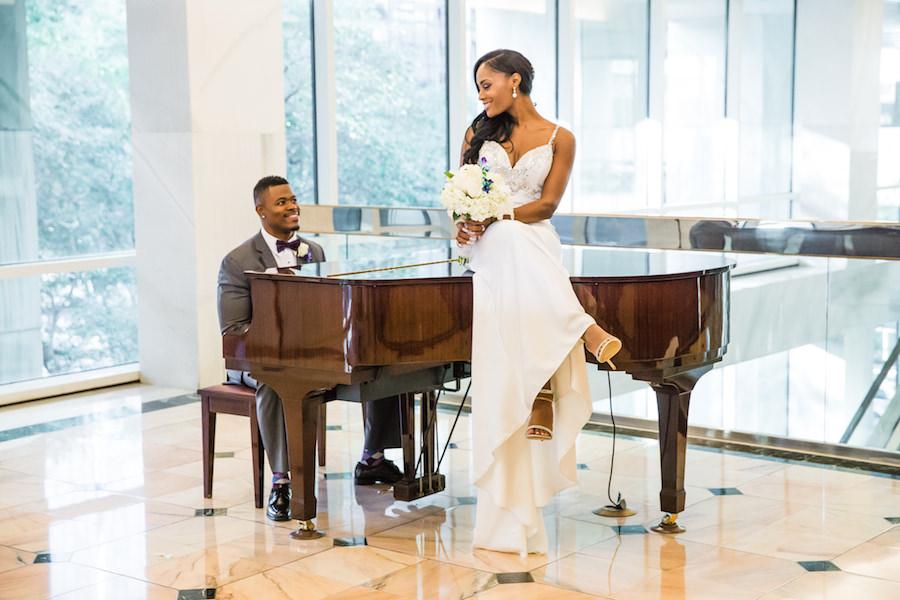 Bride and Groom Wedding Portrait with Beaded Demetrios Bride Wedding Dress on Piano   Downtown Tampa Wedding Venue The Tampa Club