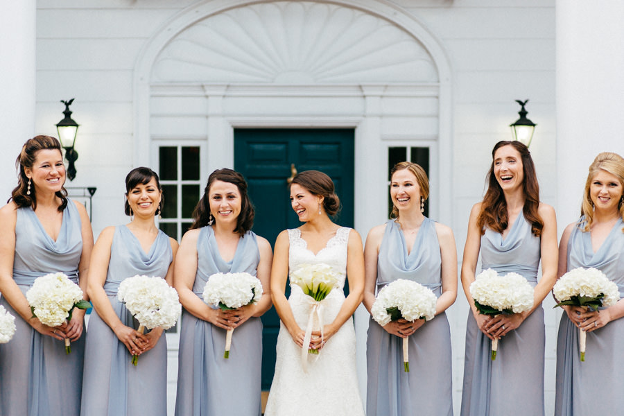 Outdoor Bridal Portraits of Bridal Party in Light Blue Bridesmaids Dresses and Ivory, Lace Augusta Jones Wedding Dress