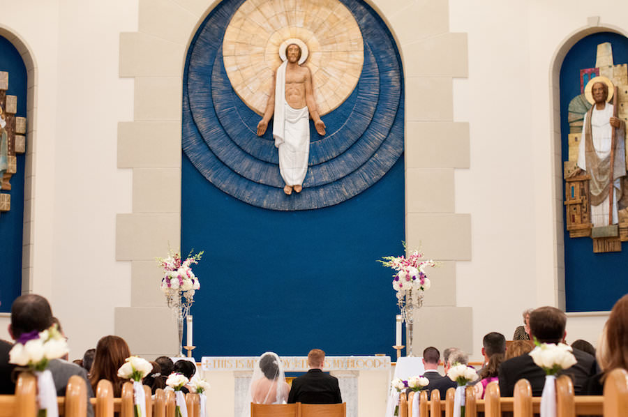 Bride and Groom at Altar at Tampa Church Wedding Ceremony