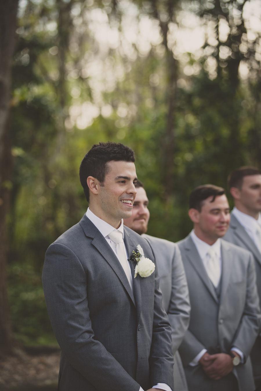 Groom Seeing Bride Walking Down The Aisle Wedding Portrait