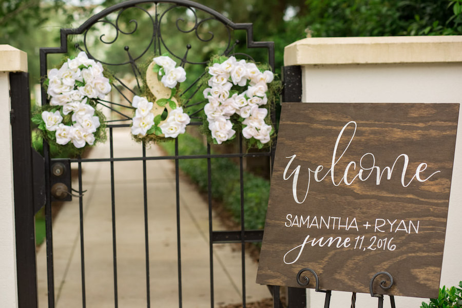 Tampa Wedding Wooden Welcome Sign with White Calligraphy | Tampa Wedding Venue The Palmetto Club | Jeff Mason Photography