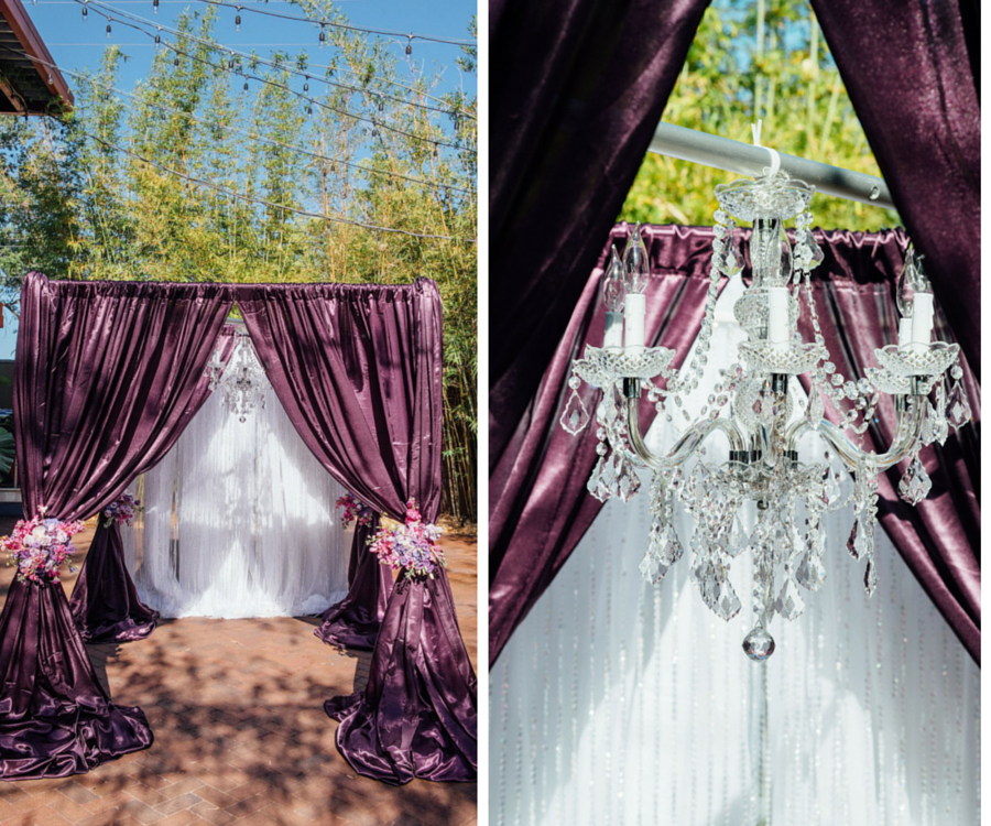 Flocked Purple Linen Wedding Arch Draping with Crystal Chandelier and Pink and White Floral Accents | St. Petersburg Wedding Planner Exquisite Events
