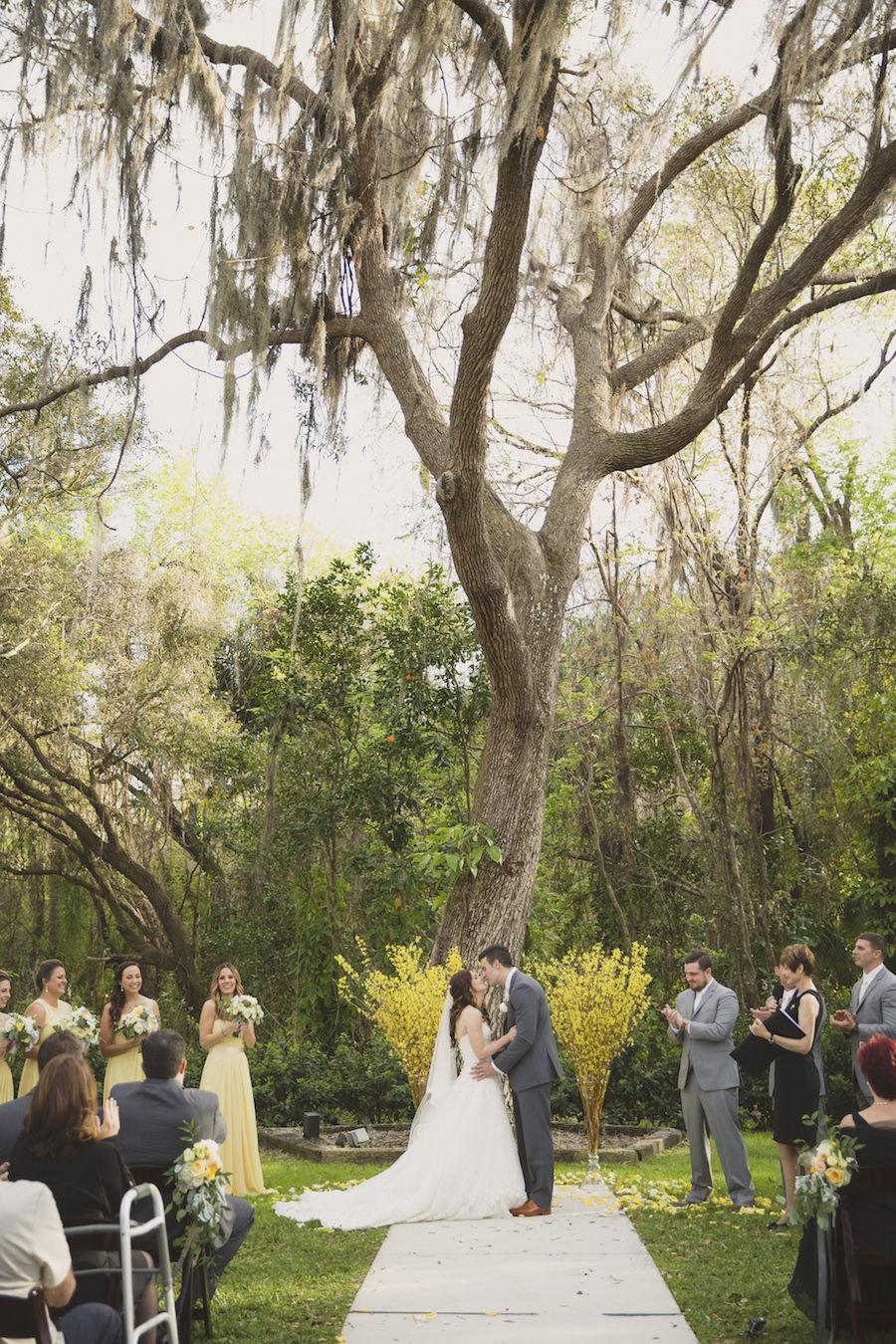 Rustic Outdoor Florida Wedding Ceremony Under Spanish Moss Tree   Sarasota Wedding Venue Bakers Ranch