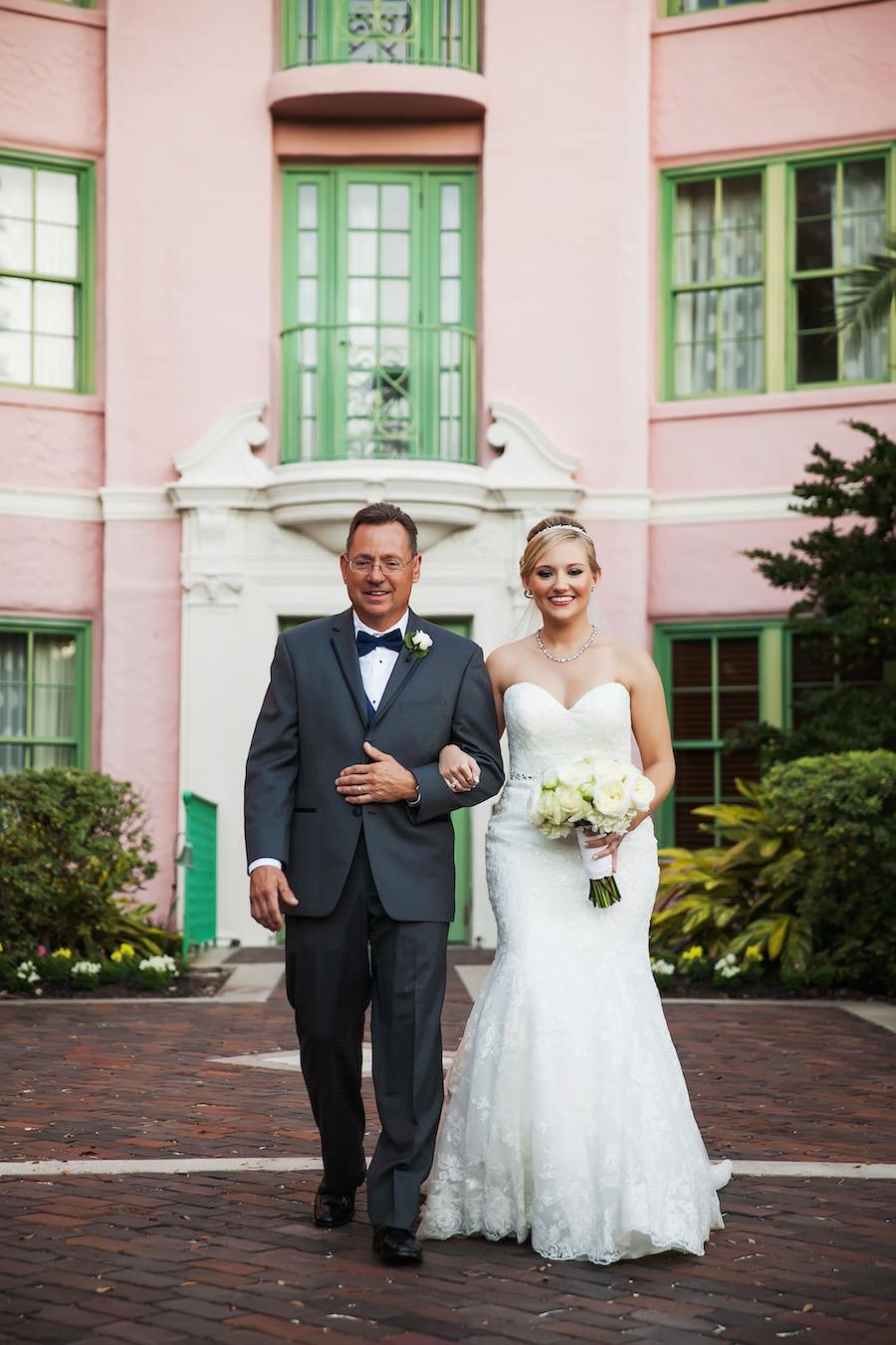 Bride and Father Walking Down The Aisle Wedding Portrait | St. Pete Wedding Ceremony Venue Vinoy Renaissance | Limelight Photography