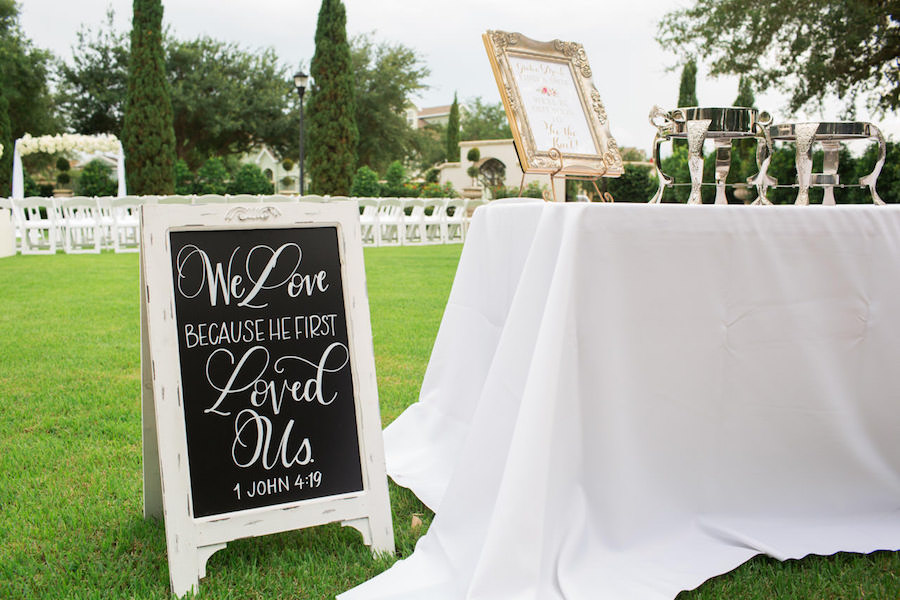 Elegant, Wooden Wedding Ceremony Sign with Calligraphy | Tampa Wedding Venue The Palmetto Club | Jeff Mason Photography
