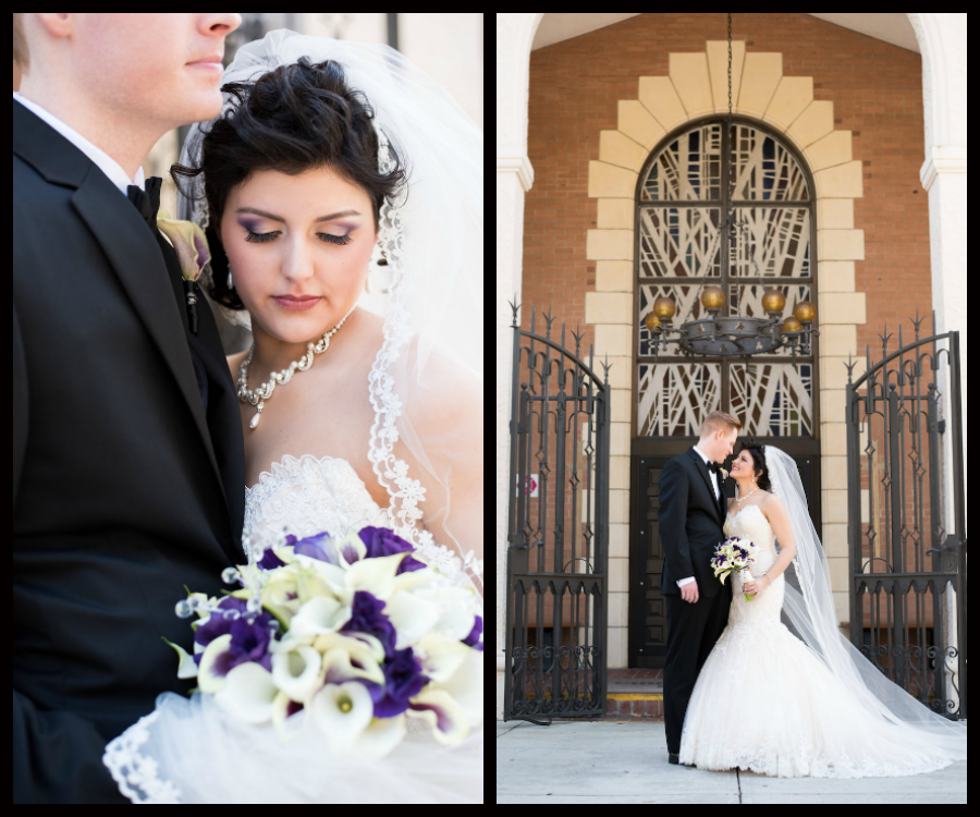 Outdoor, Tampa Bride and Groom Wedding Portrait at Church   Tampa Wedding Photographers Caroline and Evan Photography