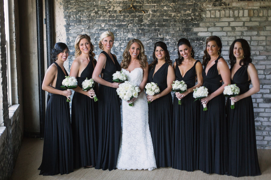 Tampa Bridal Party Portrait of Bride in Ivory, Lace Strapless Wedding Dress   Bridesmaids in Black Bella Bridesmaid Dresses   Tampa Dress Shop