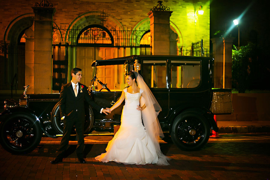 Outdoor, Nighttime Bride and Groom Wedding Portrait with Vintage Rolls Royce   Tampa Wedding Photographers Limelight Photography