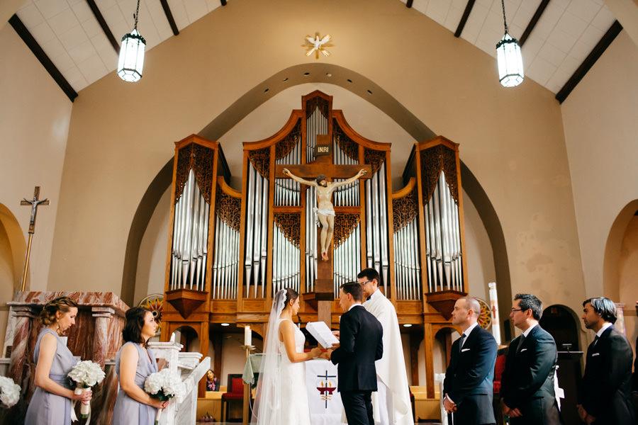 Catholic Church Wedding Ceremony, Bride and Groom Exchanging Vows | Sarasota's St. Martha's Catholic Church