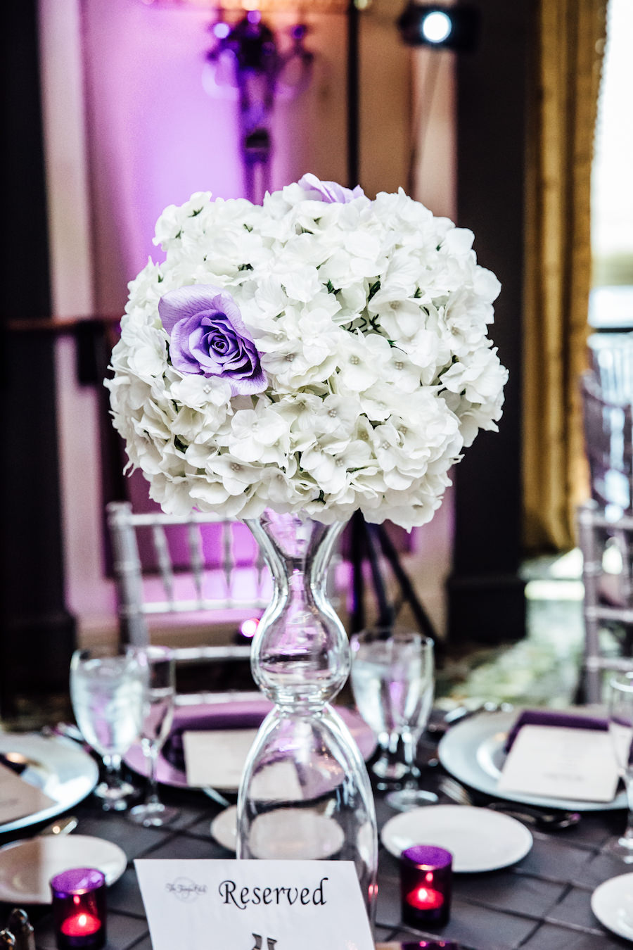 Tall White Wedding Centerpiece with Glass Vase