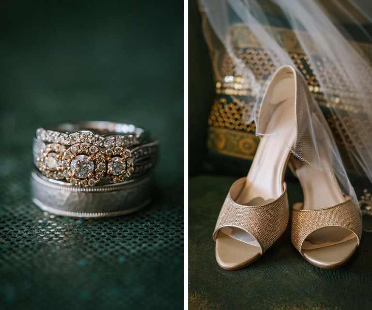 Bride and Groom Wedding and Engagement Ring Portrait | Bridal Champagne Metallic Open Toed wedding Shoes with Veil Portrait