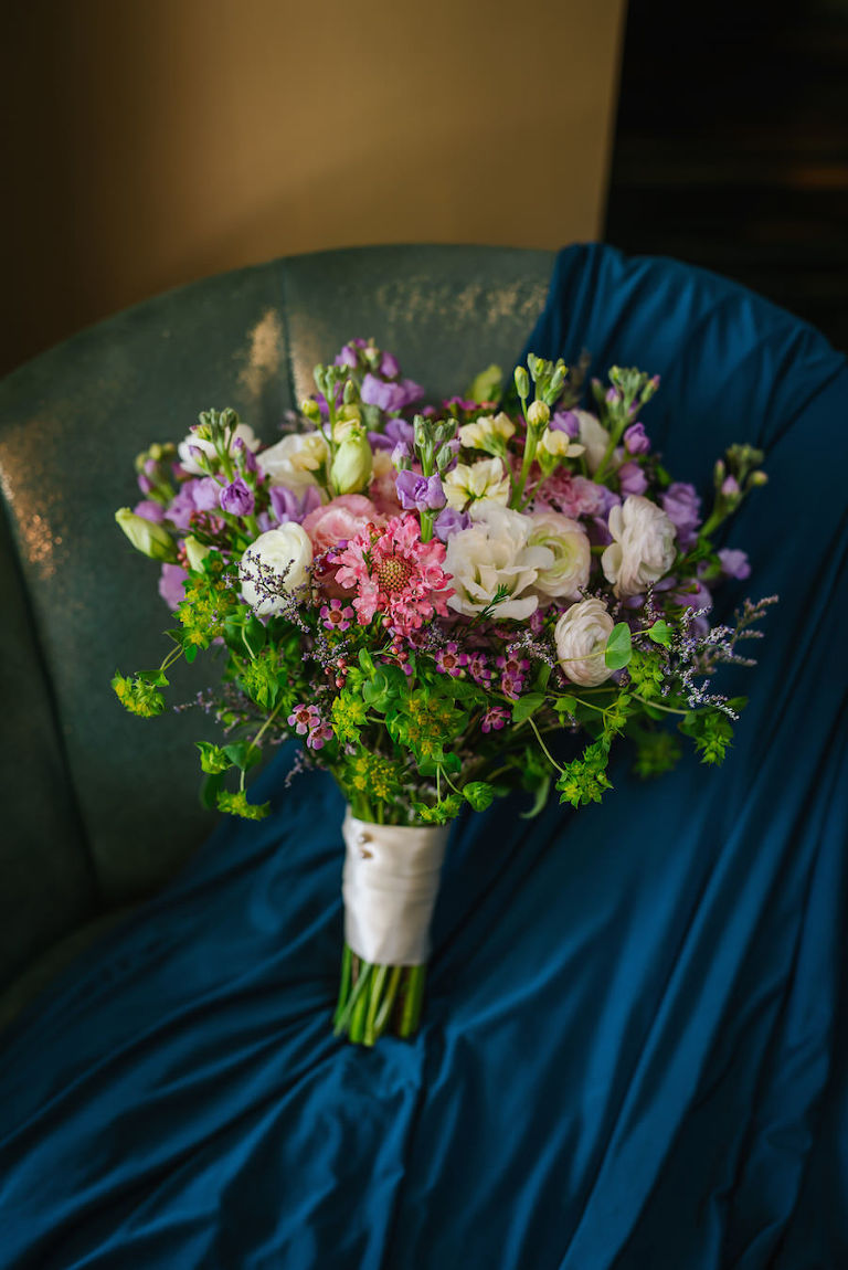 Bridal Wedding Day Bouquet of Pink, Ivory, Purple Wildflowers with Greenery|St. Petersburg Wedding Florist Wonderland Floral Art and Gift Loft