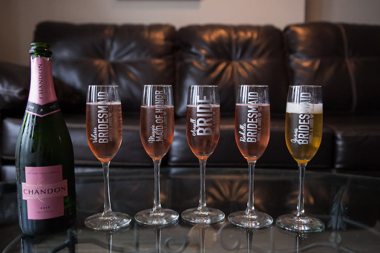 Bride and Bridesmaids Personalized Champagne Glasses | Tampa Wedding Photographer Carrie Wildes Photography