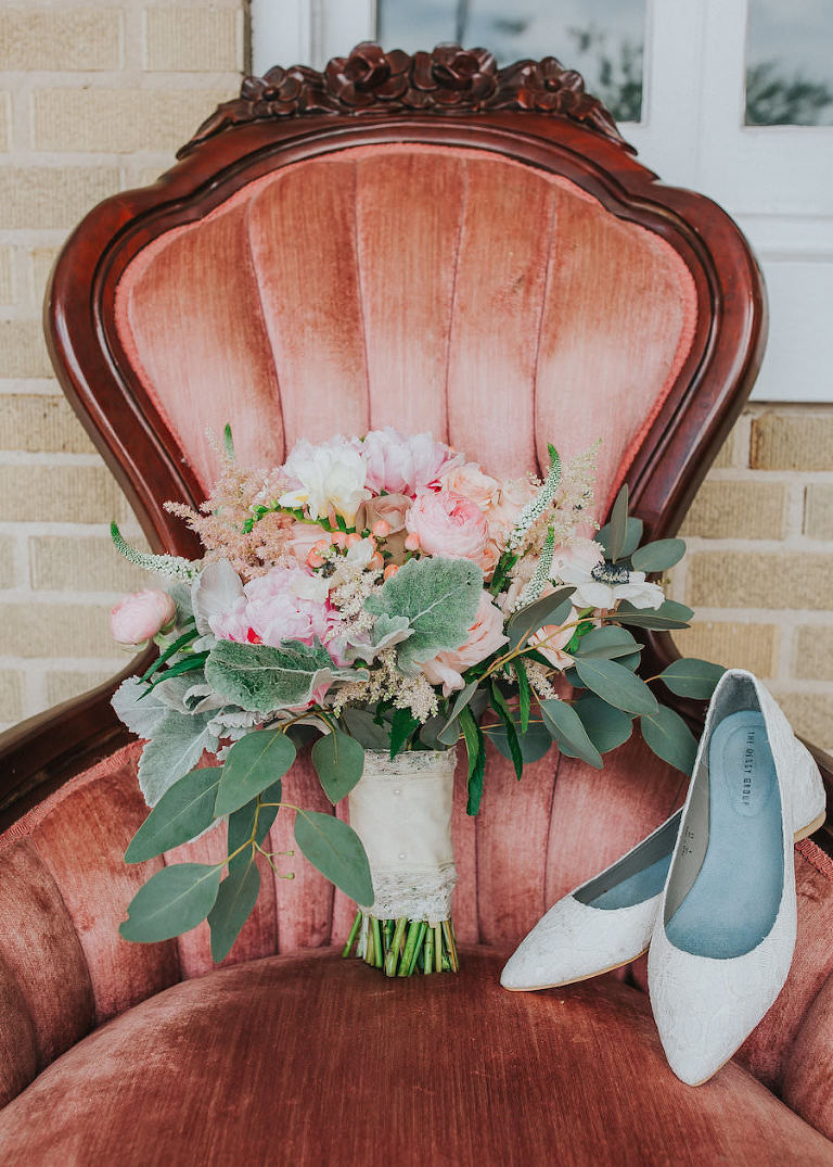 Ivory, Bridal Wedding Flats and Pink, Coral, and Ivory Floral Bridal Bouquet of Flowers | Lakeland Wedding Photographer Rad Red Creative