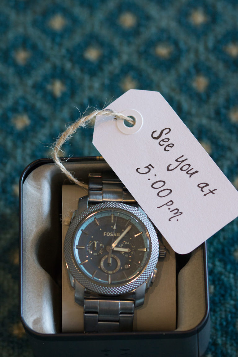 Bride's Wedding Day Gift to Groom with Note | Fossil Watch