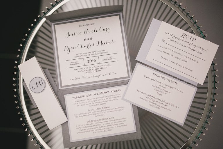 Elegant Grey, Black and White Wedding Invitation Suite | Tampa Wedding Photographer Roohi Photography
